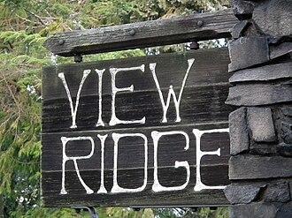 View Ridge, Seattle - Image: View Ridge Seattle Sign