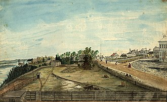 Wellington Street (Ottawa) - A painting of Wellington Street, looking east, in 1845, by Thomas Burrowes, one of the first persons to take up land and build a home on the street