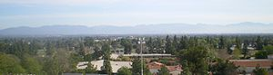 Los Angeles Pierce College - View from the Pierce College Performing Arts Building up in the Chalk Hills, northeast across San Fernando Valley to the San Gabriel Mountains.
