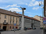 The well-known angel statue which stands in the Užupis  district of Vilnius