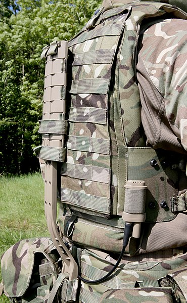 File:Virtus body armour, visible is the integral rigid spine that forms part of the kit's Dynamic Weight Distribution (DWD) System. MOD 45159170.jpg
