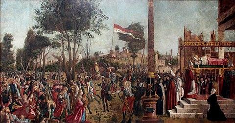 Vittore Carpaccio - Sant'Orsola polyptich - Martirio dei pellegrini e funerali di Orsola.jpg