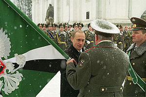 Russian Railway Troops - Russian President Vladimir Putin with Railway Troops at the Cathedral Square, Moscow Kremlin, 21 February 2002