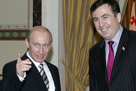 Meeting with Mikheil Saakashvili, then-president of Georgia, in 2008 Vladimir Putin 22 February 2008-1.jpg