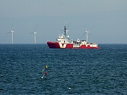 Vos Scout and Sheringham Shoal Wind Farm (geograph 4608748).jpg