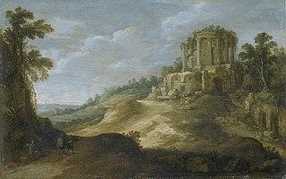 Vue du temple de la Sybille à Tivoli