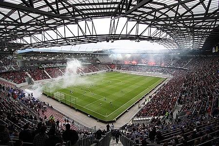 A view in the Wörtherseestadion in Klagenfurt (Austria) with 28.000 spectators during the final of the Austrian Cup 2009–10 SC Magna Wiener Neustadt vs. SK Sturm Graz 0:1 (0:0) at 2010-05-16.