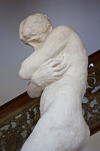 Shame - Eve covers herself and lowers her head in shame in Rodin's Eve after the Fall.
