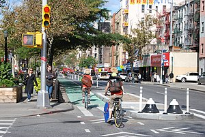 Built environment - A separated bike lane in New York City.