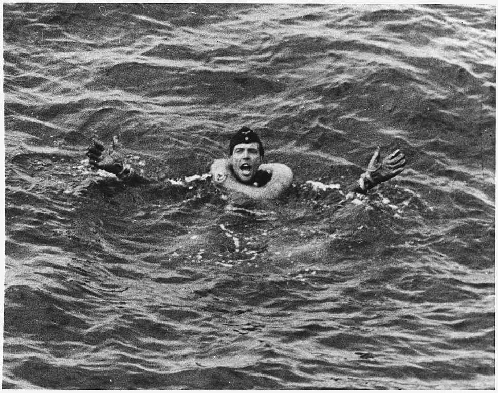 """WWII, Europw, Germany, """"German POWs - German yells for help after his submarine is sunk in the Atlantic by U.S. Coast... - NARA - 195468"""