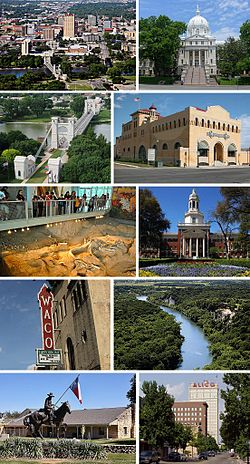 Frae left tae richt, tap tae bottom: Downtown, McLennan Coonty Courthouse, Waco Suspension Brig, Dr. Pepper Museum, Waco Mammoth Naitional Monument, Baylor Varsity, Waco Hippodrome, William Cameron Park, Texas Ranger Hall of Fame and Museum, an Austin Avenue in Downtown