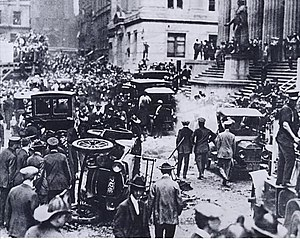 JPMorgan Chase - The J.P. Morgan headquarters in New York City following the September 16, 1920 bomb explosion that took the lives of 38 and injured over 400
