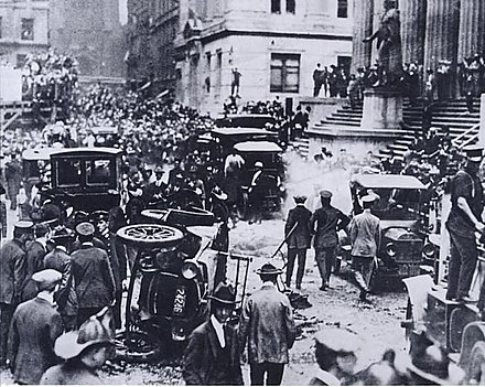 The J.P. Morgan headquarters in New York City following the September 16, 1920 bomb explosion that took the lives of 38 and injured over 400 Wallstreetbmb.jpg