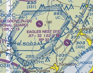 Restricted airspace - Section of the Sectional Aeronautical Chart for Washington 90th edition, showing the restricted area R-5002 around Warren Grove, New Jersey