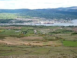 Warrenpoint - Warrenpoint from the Cooley Mountains on the County Louth side of Carlingford Lough