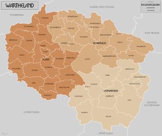 Reichsgau Wartheland - Counties (Regierungsbezirk) and districts (Kreis), 1944
