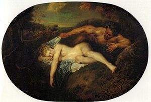 Jupiter as a satyr stands over a naked, sleeping woman