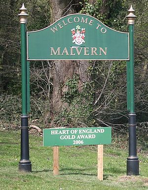 Malvern, Worcestershire - Welcome to Malvern, on an approach road to the town centre.