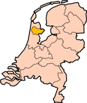 West Friesland (region) - The contemporary region of West Friesland highlighted on a map of the Netherlands