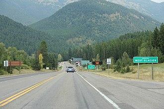 West Glacier, Montana - Sign for West Glacier on US Route 2