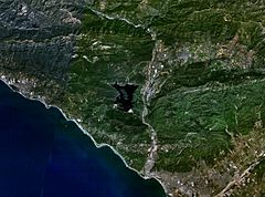 Lake Casitas - Satellite photo of the lake and the surrounding area