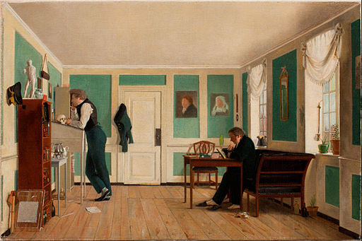 Wilhelm Bendz - Interior from Amaliegade. Captain Carl Ludvig Bendz standing and Dr. Jacob Christian Bendz seated - Google Art Project