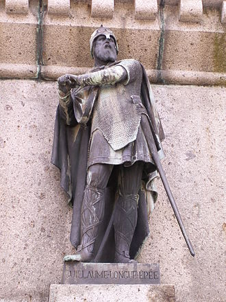 "William Longsword - Statue of William Longsword, part of the ""Six Dukes of Normandy"" series in Falaise"