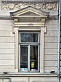 Window of the D.A. Sturdza House, with a pediment above it, in Bucharest (Romania).jpg