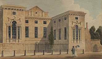 Worcester College, Oxford - Worcester College in the early 19th century. The projecting wings are the Hall (left) and the Chapel (right)