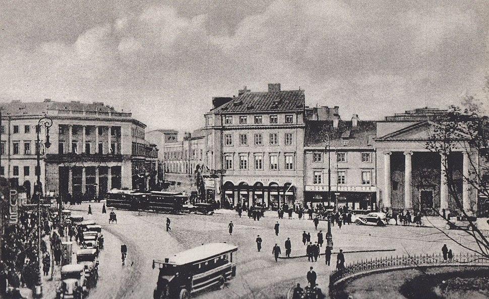 Wylot ul. Bielańskiej przy placu Teatralnym przed 1939