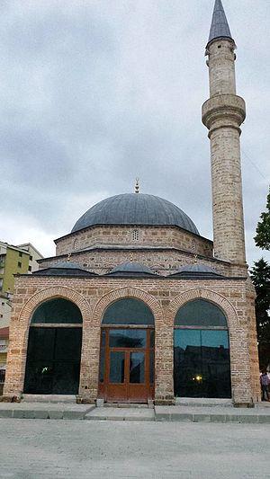 Korçë - Mirahori Mosque, Korçë. (Built in 1494 by Iljaz Bey Mirahor)