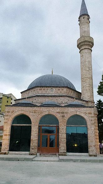 Mirahori Mosque, Korce. Built between 1484 and 1495 by Iljaz Bey Mirahor, it is Albania's second oldest mosque and one of the most important examples of Islamic architecture of the country. Xhamia e Iljaz Bej Mirahorit, Korce.jpg