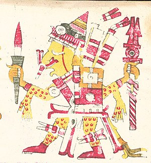 Xipe Totec - Xipe Totec as depicted in the Codex Borgia, shown holding a bloody weapon and wearing flayed human skin as a suit.