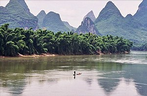 Yangshuo - the Li River. That's bamboo lining ...