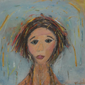 Yehudit Englard Colorful Girl, 2013, Oil on canvas, 70x70cm.png