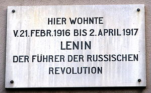 Switzerland during the World Wars - Plaque on Lenin's house at Spiegelgasse 14 in Zürich