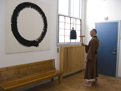 Zazen bell with Enso in Background