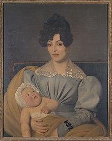 Maleri av en kvinne i en grå kjole som bærer en halvnaken baby i armene