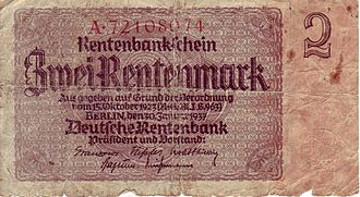 Hyperinflation in the Weimar Republic - Two Rentenmark note, issued in line with the Decree of 15 October 1923