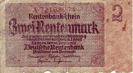 Two Rentenmark note, issued in line with the Decree of 15 October 1923 Zwei Rentenmark a.jpg