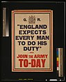 """England expects every man to do his duty"" and join the army to-day LCCN2003662929.jpg"