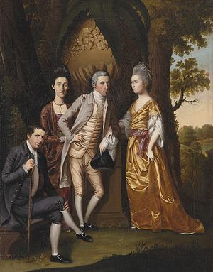 """Henry Benbridge - """"Enoch Edwards Family 1779"""" by Henry Benbridge. Benbridge is seated at left. His half-sister, Frances Gordon, at right, is shown with her husband Dr. Enoch Edwards. The dark haired woman is Enoch Edwards' niece. Philadelphia Museum of Art"""