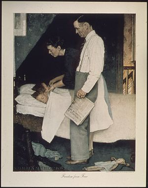 Freedom from fear - Freedom from Fear from painter Norman Rockwell, c. 1943