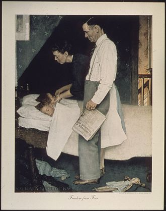 Freedom from Fear (painting) - Norman Rockwell's Freedom from Fear was made into a poster during World War II to help motivate the civilian workforce.