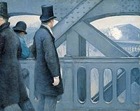 'On the Pont de l'Europe', oil on canvas painting by Gustave Caillebotte, 1876-77, Kimbell Art Museum.jpg