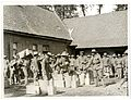 (9th) Gurkhas drawing rations at a French farm house (St Floris, France). Photographer- H. D. Girdwood. (13876128174).jpg