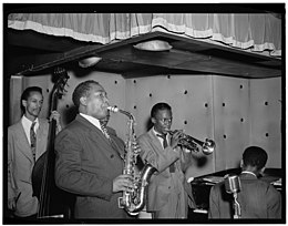 (Portrait of Charlie Parker, Tommy Potter, Miles Davis, Duke Jordan, and Max Roach, Three Deuces, New York, N.Y., ca. Aug. 1947) (LOC) (4843140781).jpg