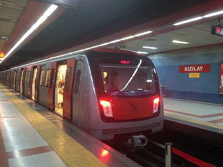 A subway train of the M2 line at the Kizilay station of the Ankara Metro Cayyolu Metro 19.JPG