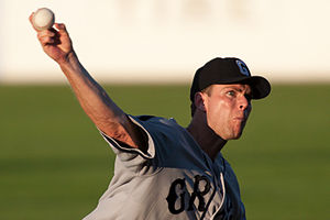 St. Paul Saints - Saints pitcher Mitch Wylie during a game on June 23, 2009. Wylie is wearing the uniform of the Homestead Grays, in honor of Minnesota's contribution to African-Americans in baseball.