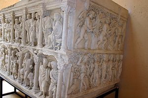 Sarcophagus of Junius Bassus - Side view of the cast.